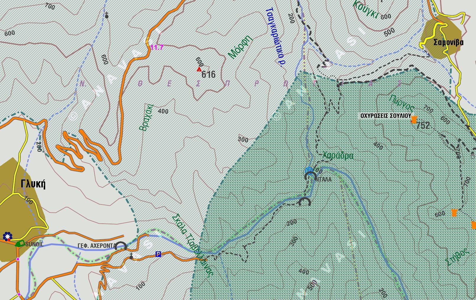 Σκάλα Τζαβέλαινας  Σούλι Αχέροντας Γλυκή χάρτης πηγές Αχέροντα