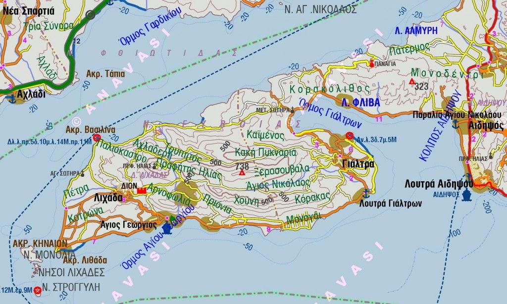 Voreia evia map