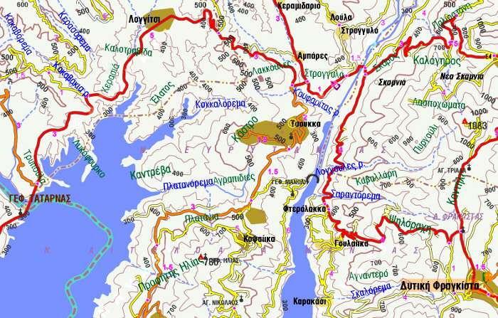 Δυτική Ευρυτανία Γέφυρα Μανώλη Χάρτης