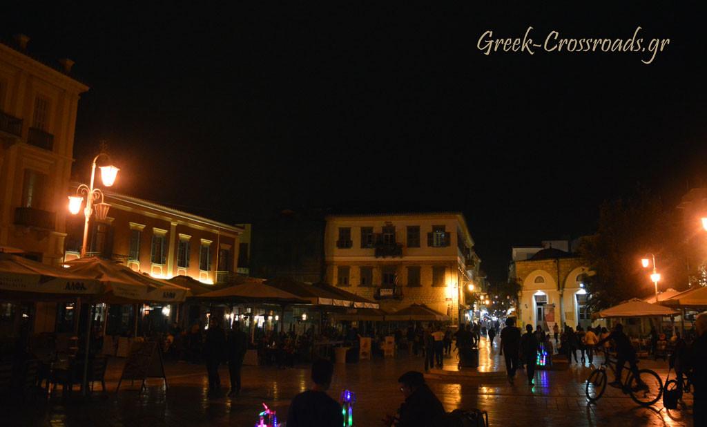 Ναύπλιο πλατεία Συντάγματος νύχτα