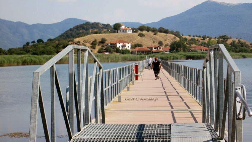Πρέσπα Μικρή Άγιος Αχίλλειος πλωτή πεζογέφυρα