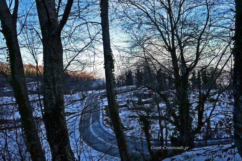 Χάνια Πήλιο δρόμος χιόνι